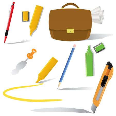 office objects in use set(vector, CMYK) Stock Vector - 5050587