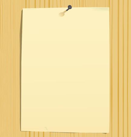 furnier: grunge Blatt Papier und Nagel auf Holz Textur (Vektor, CMYK)