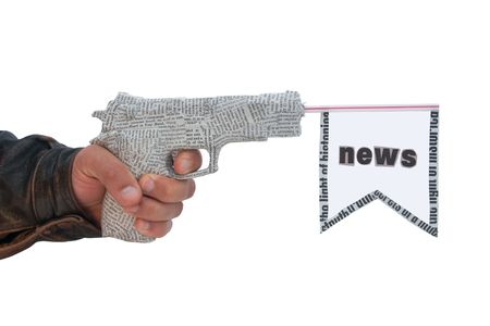 left male hand with shoting newspaper pistol and flag on white background. fake photo