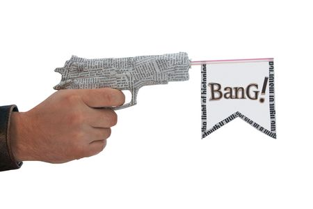 right male hand with shoting newspaper pistol and flag on white background. bang fake  Stock Photo
