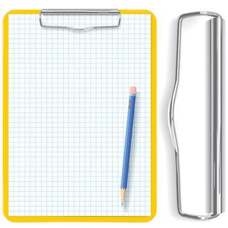 plastic texture: vector high detailed clipboard, pencil and paper sheet  (CMYK)