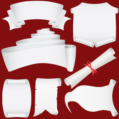 Vector paper banners, scrolls and diploma set (CMYK) Vector