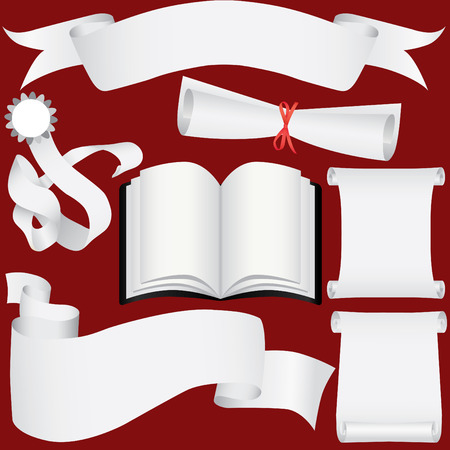 vector paper banners, scrolls and diploma set (CMYK) Illustration