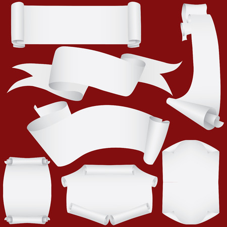 Vector paper banners and scrolls set ( CMYK) Vector