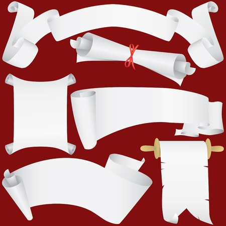 Paper banners, scrolls and diploma set (vector, CMYK) Vector