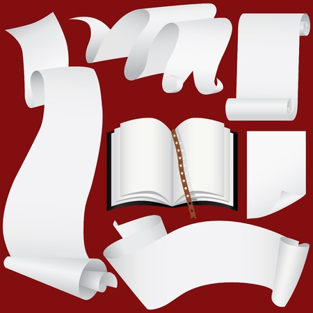 Paper banners, scrolls and book set (vector, CMYK)