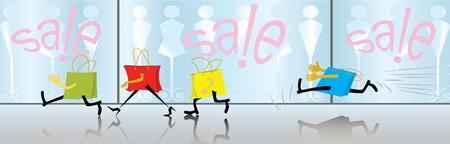 spree: Cartoon motley bags are shopping spree. Sale. (vector,CMYK) Illustration