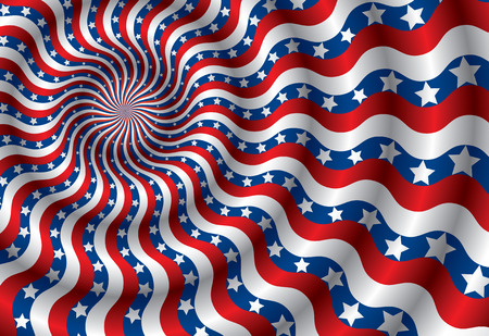 Metaphor of USA flag abstraction distorted by the wind(vector, CMYK) Vector