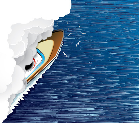Sailing ship and white smoke(vector, CMYK)