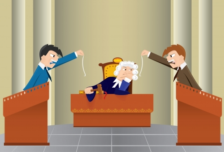 tribunal: Cartoon judicial sitting(vector, CMYK) Illustration