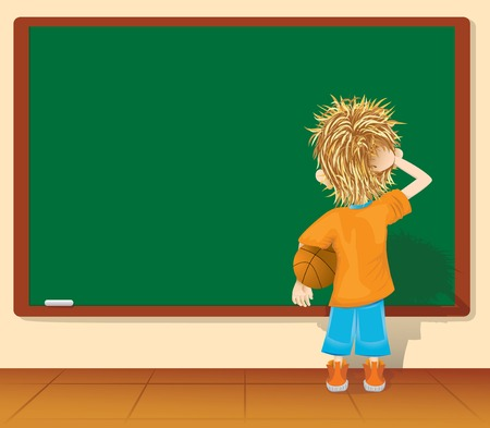 School.Cartoon little boy and blackboard. (vector, CMYK) Illustration