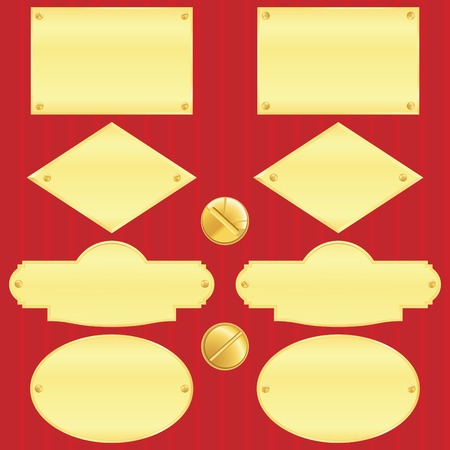 Golden nameplate set(vector, CMYK)