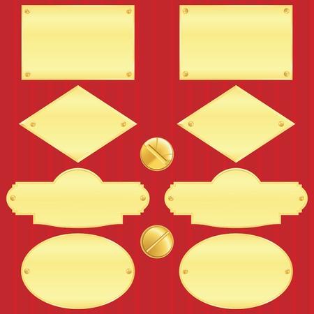 Golden nameplate set(vector, CMYK)