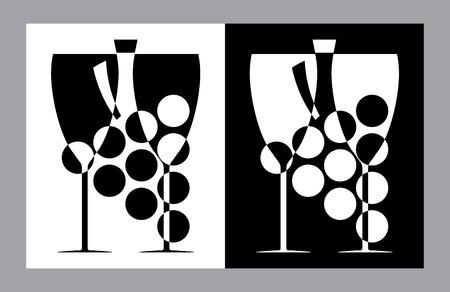 weingläser: Weingl�ser und Flasche sign(vector,CMYK)