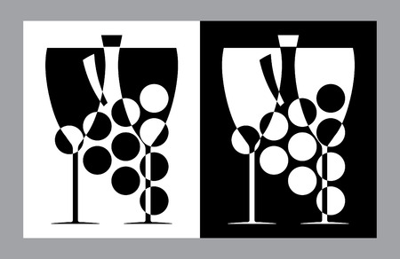 wine and food: Wine glasses and botlle sign(vector,CMYK)