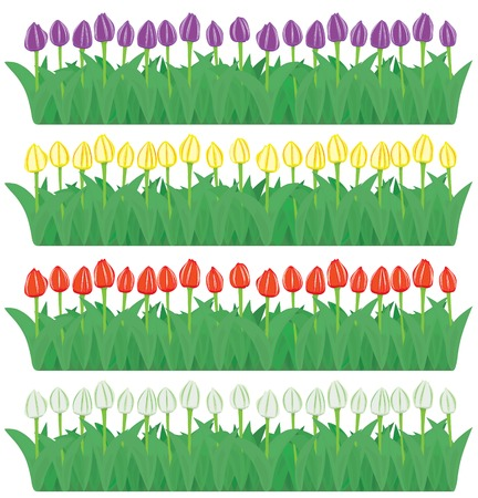 Vector flower borders set (CMYK) Vector