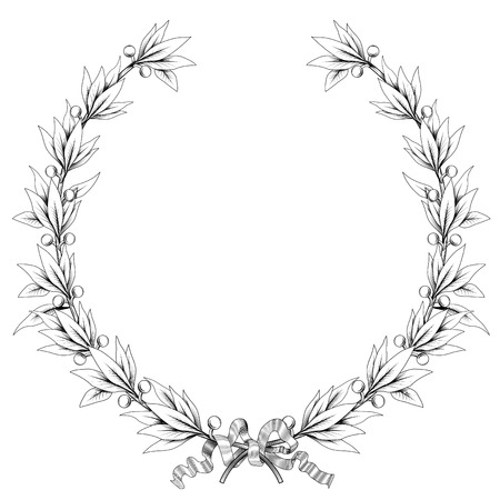 bough: vector laurel wreath (black and white colors) Illustration