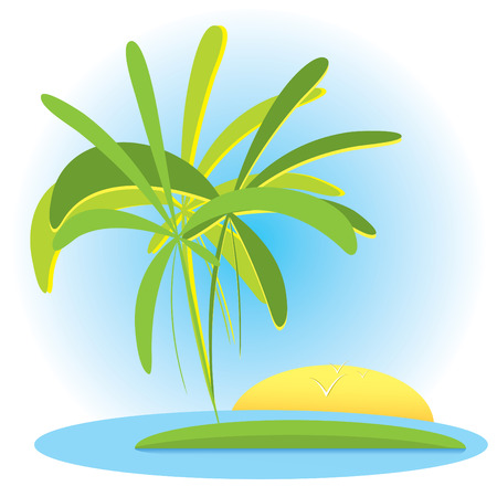 Tropical landscape with palms and sunset(vector, CMYK) Vector