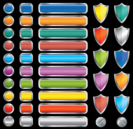 motley buttons, shields and screw set (vector,CMYK) Vector