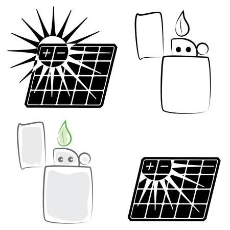 vector solar panel and lighter set( CMYK) Vector