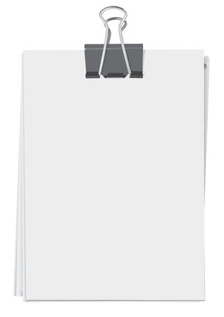 Binder clip and stack of paper sheets Illustration