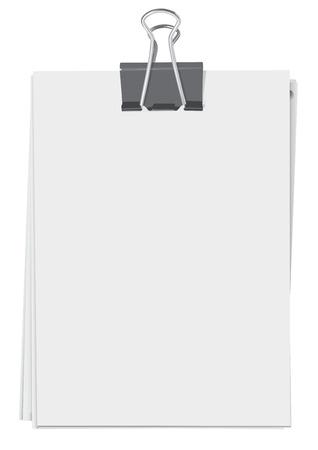 Binder clip en stapel vellen papier