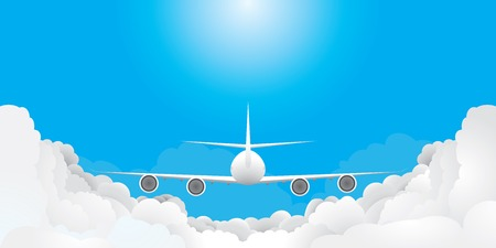 propulsion: Plane is flying in blue sky with clouds