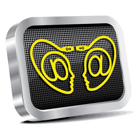 Iinternet dating site icon.(CMYK) Vector