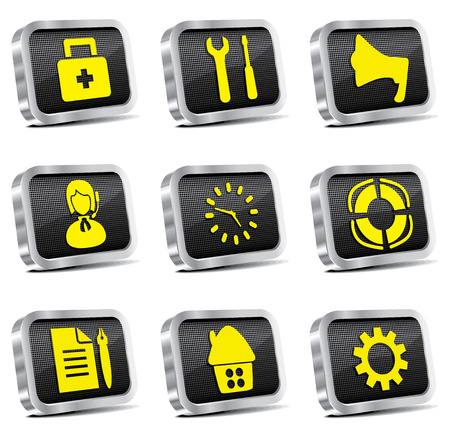 metal web icon set Stock Vector - 6997193