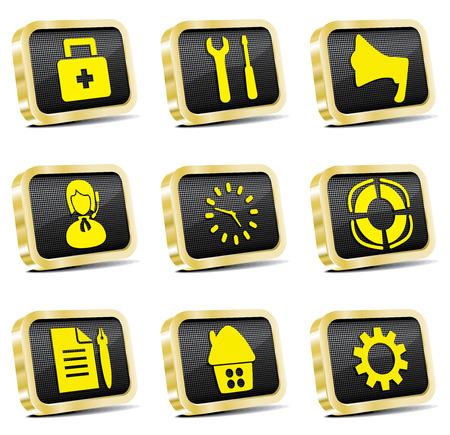 golden web icon set Stock Vector - 6997194