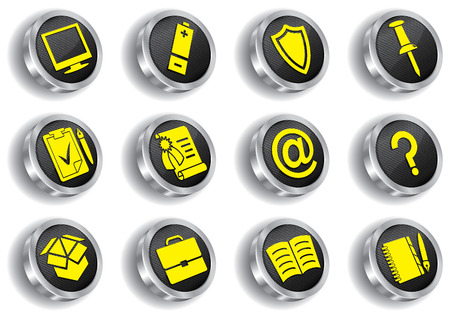 metal web icon set ( CMYK) Vector