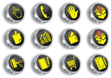 mani legate: set di icone web metallo (CMYK)  Vettoriali