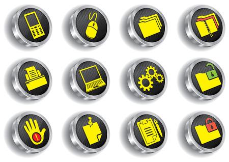 metal web icon set ( CMYK) Stock Vector - 7086281