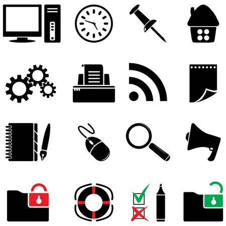 desktop printer: computer icon set  Illustration
