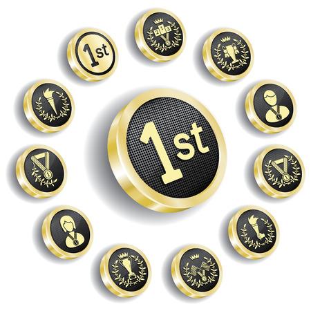lugar: conjunto de medalla ol�mpica de oro  Vectores