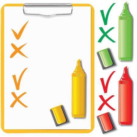 orange clipboard, paper sheet and marker set   Illustration