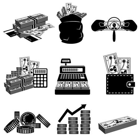 財源: お金のアイコンを設定  イラスト・ベクター素材