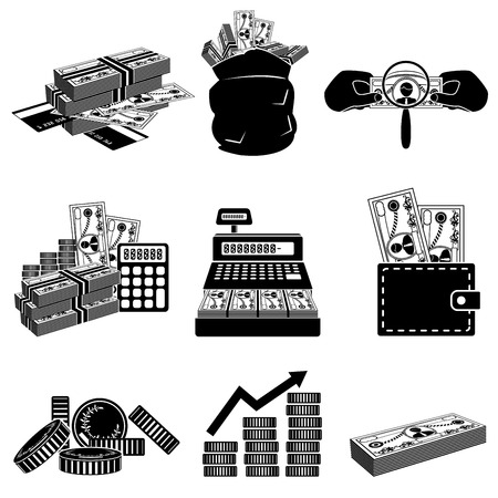 coin purse: Money icon set Illustration