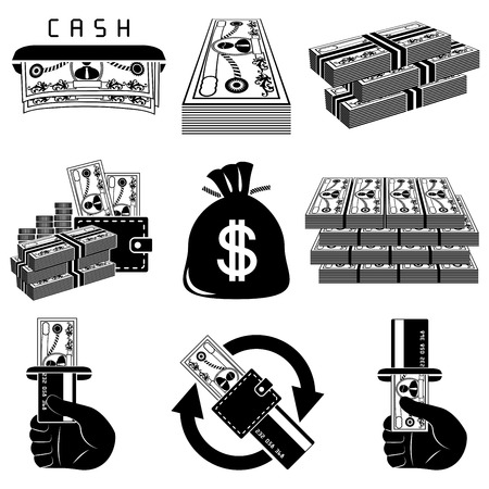 changes in equity: Money icon set Illustration