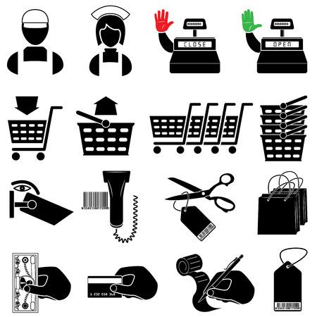 mujer en el supermercado: Conjunto de iconos de supermercado