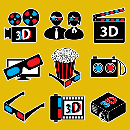 stereoscope: 3d movie devices. icon set
