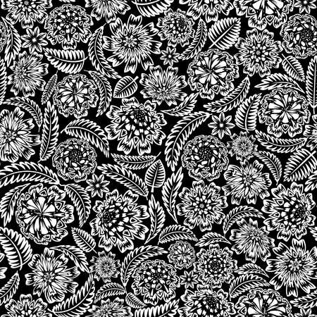 Flower and leaves seamless (black and white colors)
