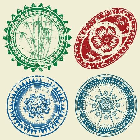 Grunge postcard stamp set(vector, CMYK)