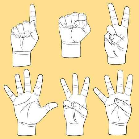 victoire: Ensemble des mains humaines Illustration