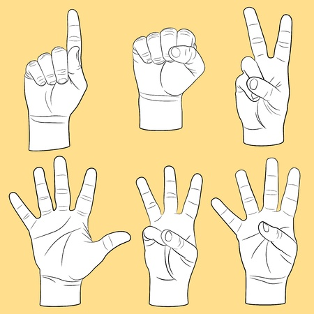 pointing finger pointing: Human hands set Illustration