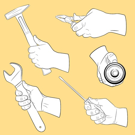 Hand tools in use Stock Vector - 9150157