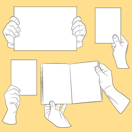 ballen: Satz von Menschenhand mit Papier Illustration