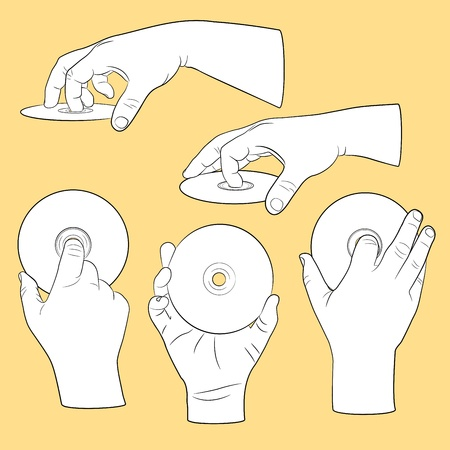 clench: Set of human hands with CDs