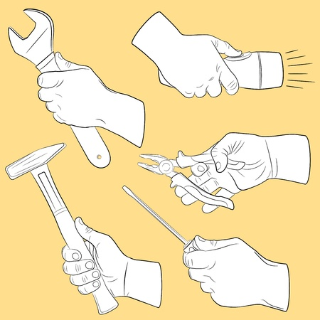 gripping: Hand tools in use Illustration