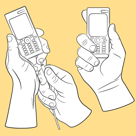 cellphone in hand: Hand and mobile phone set